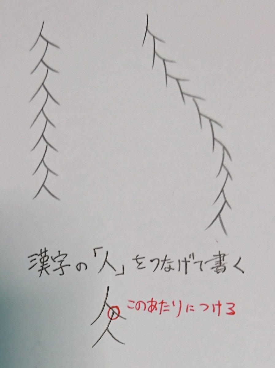 三つ編み描くの苦手なんですが、漢字の「人」を目安書いてみたら描きやすかったです。編み目にも使えないかなあ