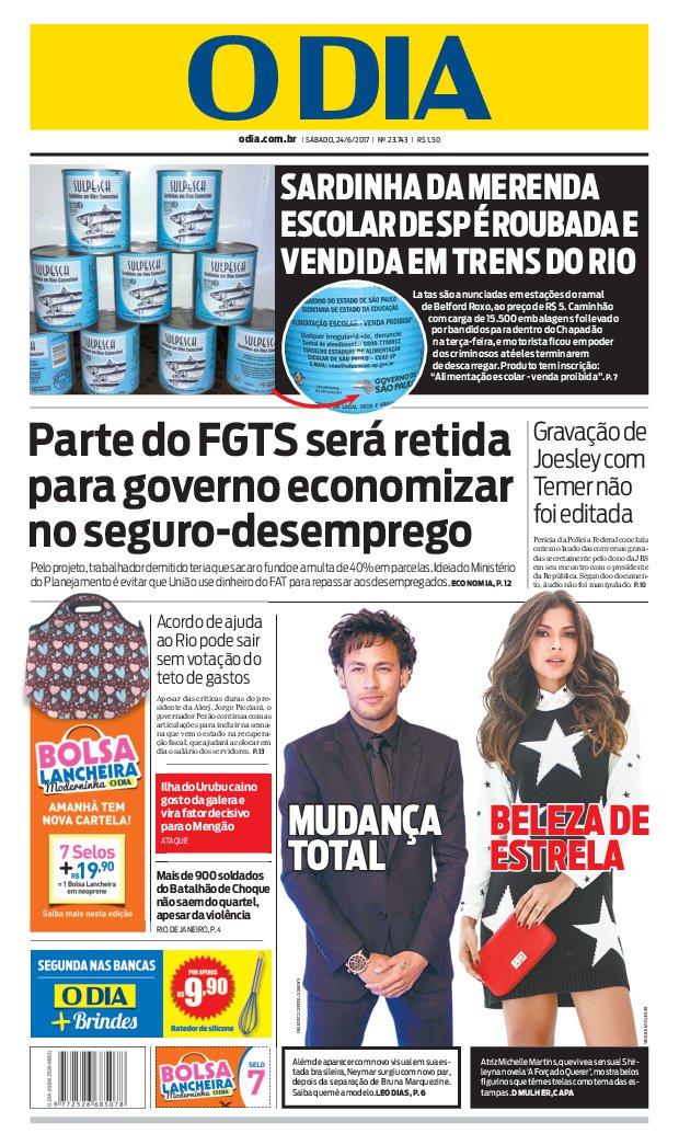 Bom dia, leitores do @jornalodia. Eis a capa de hoje 24/06/2017. #capaODIA. Saiba tudo em https://t.co/FQEIhBBx7Z