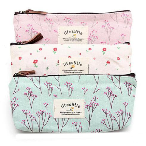 Canvas Cosmetic Cases with Floral Pattern