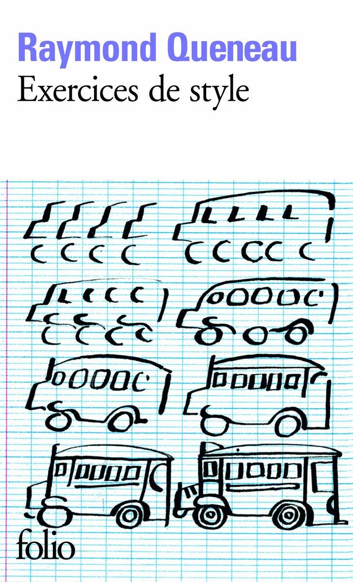 """#VendrediLecture  """"Exercices de style"""" Raymond Queneau Pur bijou de Français : brève histoire racontée 99 fois, de 99 manières différentes pic.twitter.com/SMZBfWVXfM"""