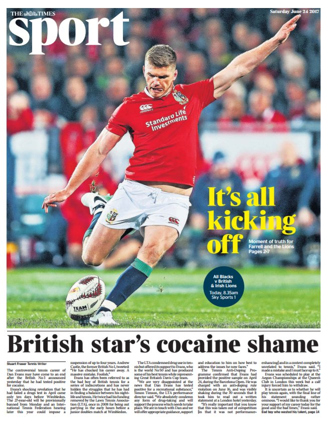 Today's @TimesSport: front page: Cocaine shame of British tennis star Dan Evans  https://t.co/3f8x8i6VS8
