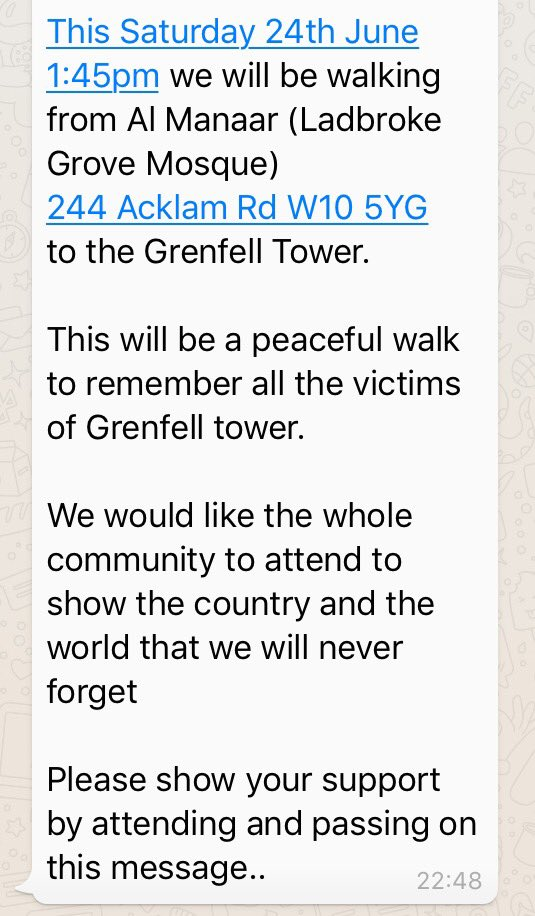 There will be a peaceful walk today from Al Manaar mosque to #Grenfell tower to remember all the victims of this tragedy. @OwenJones84