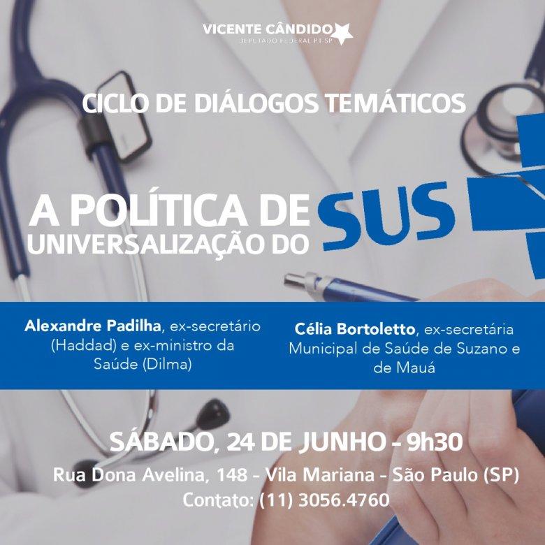 SP: Hoje tem o debate sobre a política de universalização do SUS, com participação do @padilhando  . Acesse: https://t.co/yneSFY9rBW