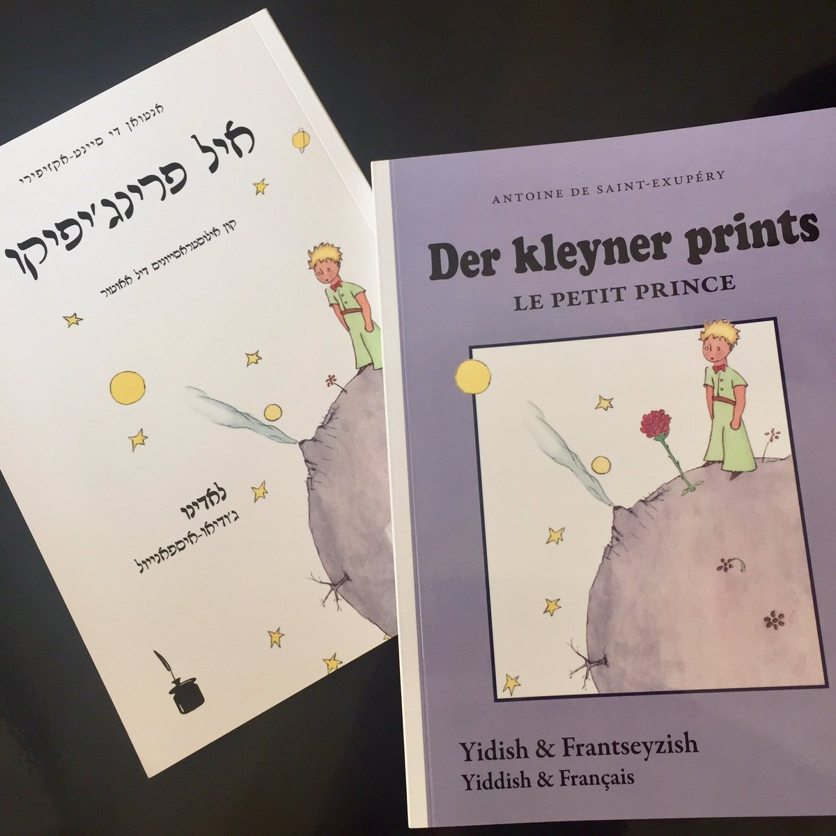 Charming bilingualisms: &quot;The Little Prince&quot; in #Yiddish/#French and #Ladino/Judeo-Spanish (#Hebrew &amp; Roman scripts). #translation #literary <br>http://pic.twitter.com/L0D9nsrcgM