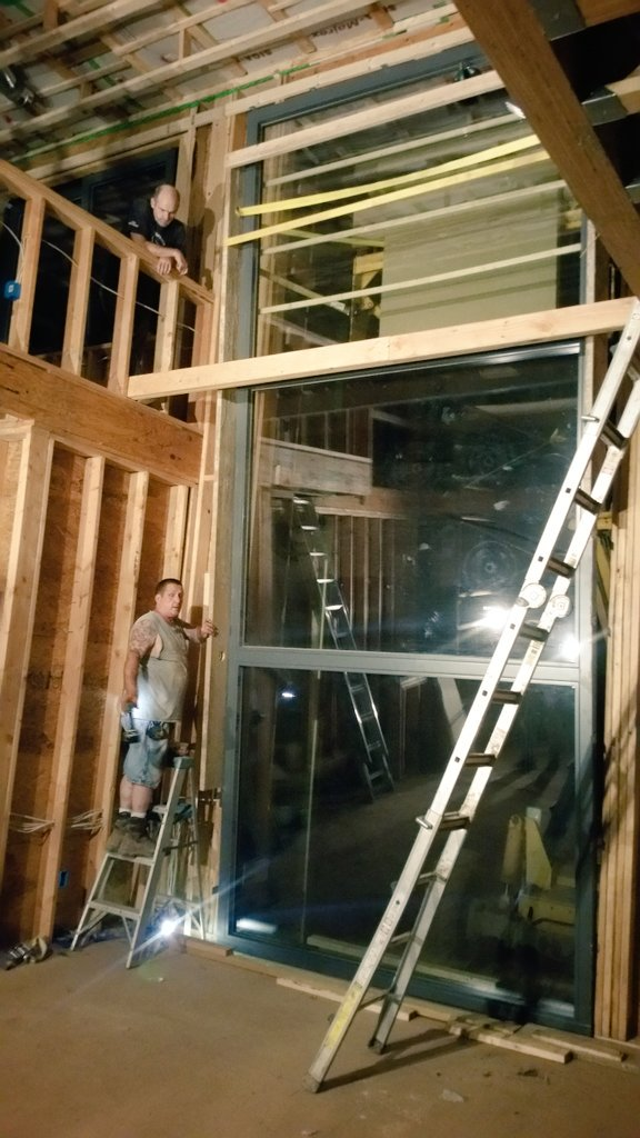 Late night @bildau  #triplepane #krypton  #window install was more #rigging and less #passivehouse<br>http://pic.twitter.com/mVINZKDumc
