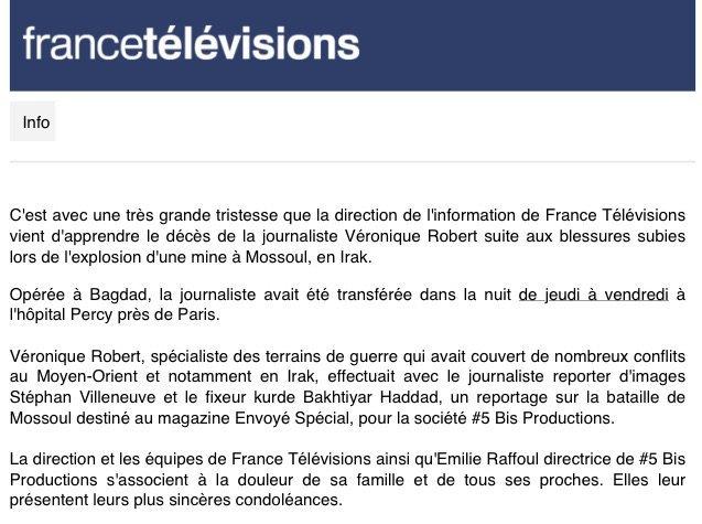 France Télévision annonce le décès de Véronique Robert, blessée par l'explosion d'une mine à Mossoul