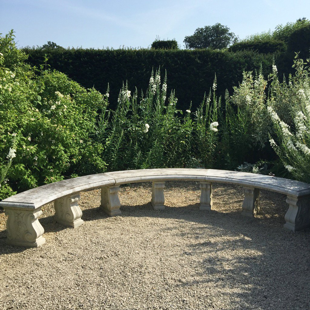 Lovely crescent shaped stone bench in the #white #flower #garden @LoseleyPark @Loseleyevents - perfect spot for pics