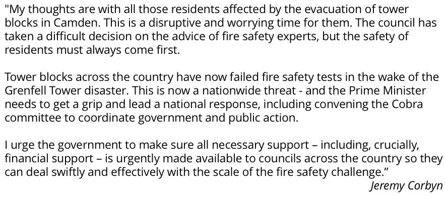 My thoughts are with all those residents affected by the evacuation of tower blocks in Camden. #GrenfellTower