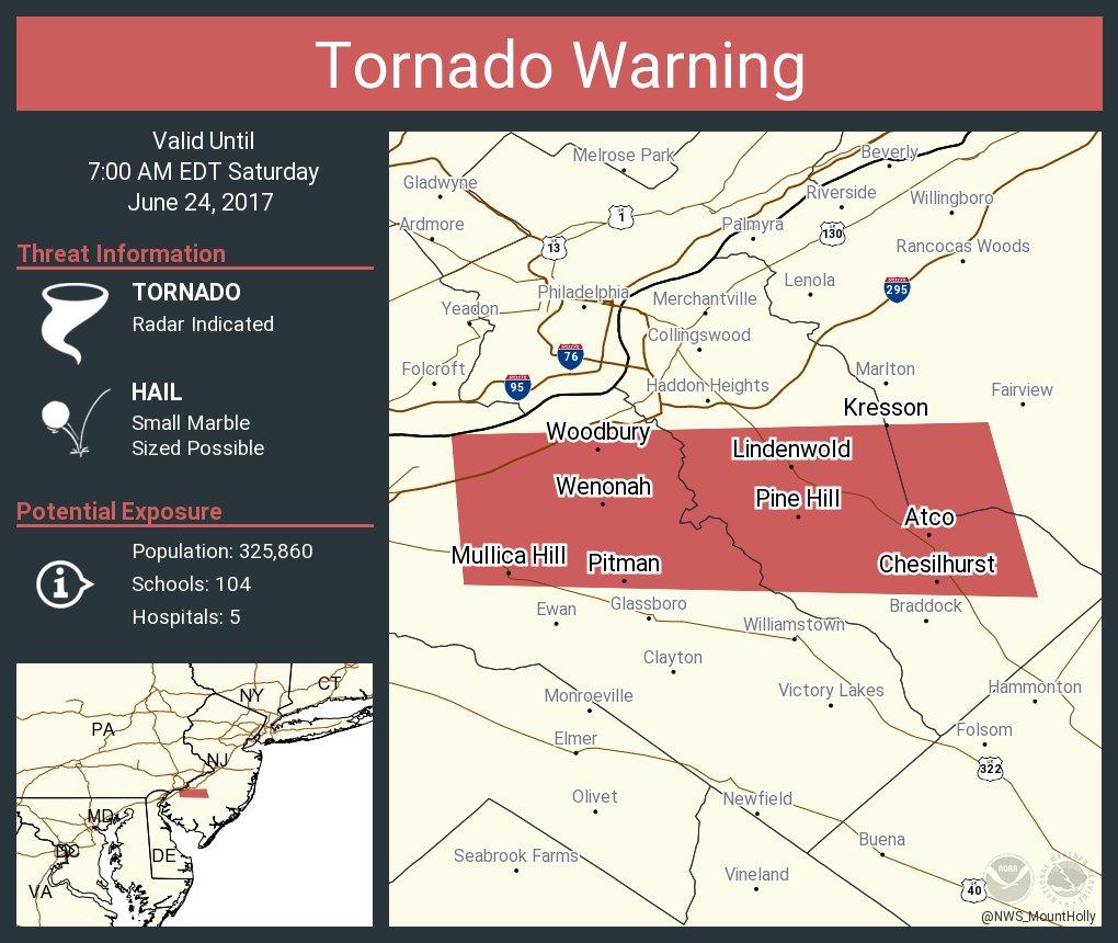 Tornado Warning including Lindenwold NJ Pine Hill NJ