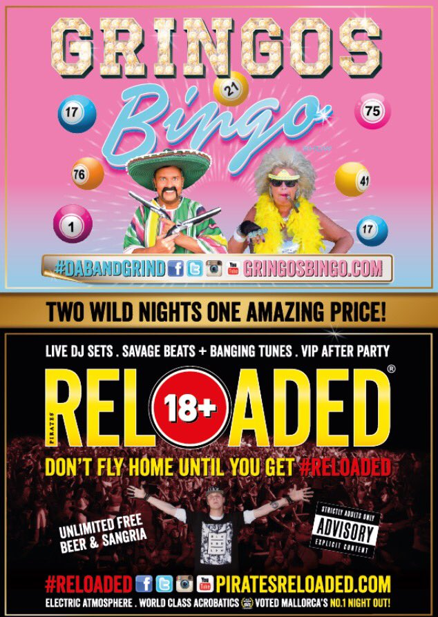 2 amazing nights in #Magaluf guaranteed! Get #Reloaded Wed, Fri or Sat &amp; carry on the party on Monday at #GringosBingo #mallorca<br>http://pic.twitter.com/rgb23r1NuO
