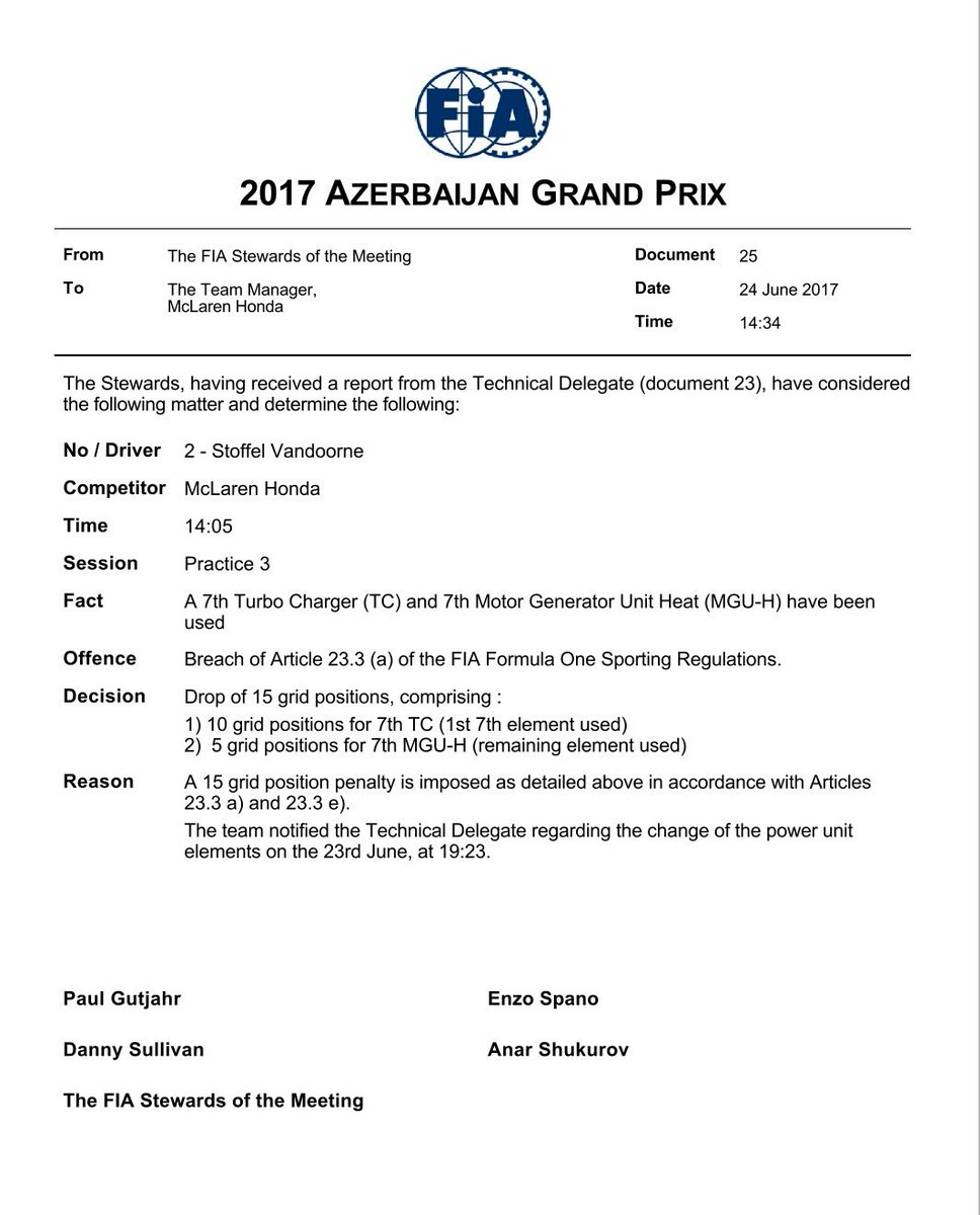 عقوبات جوله اذربيجان #AzerbaijanGP - الكاتب: NASCAR عقوبه على