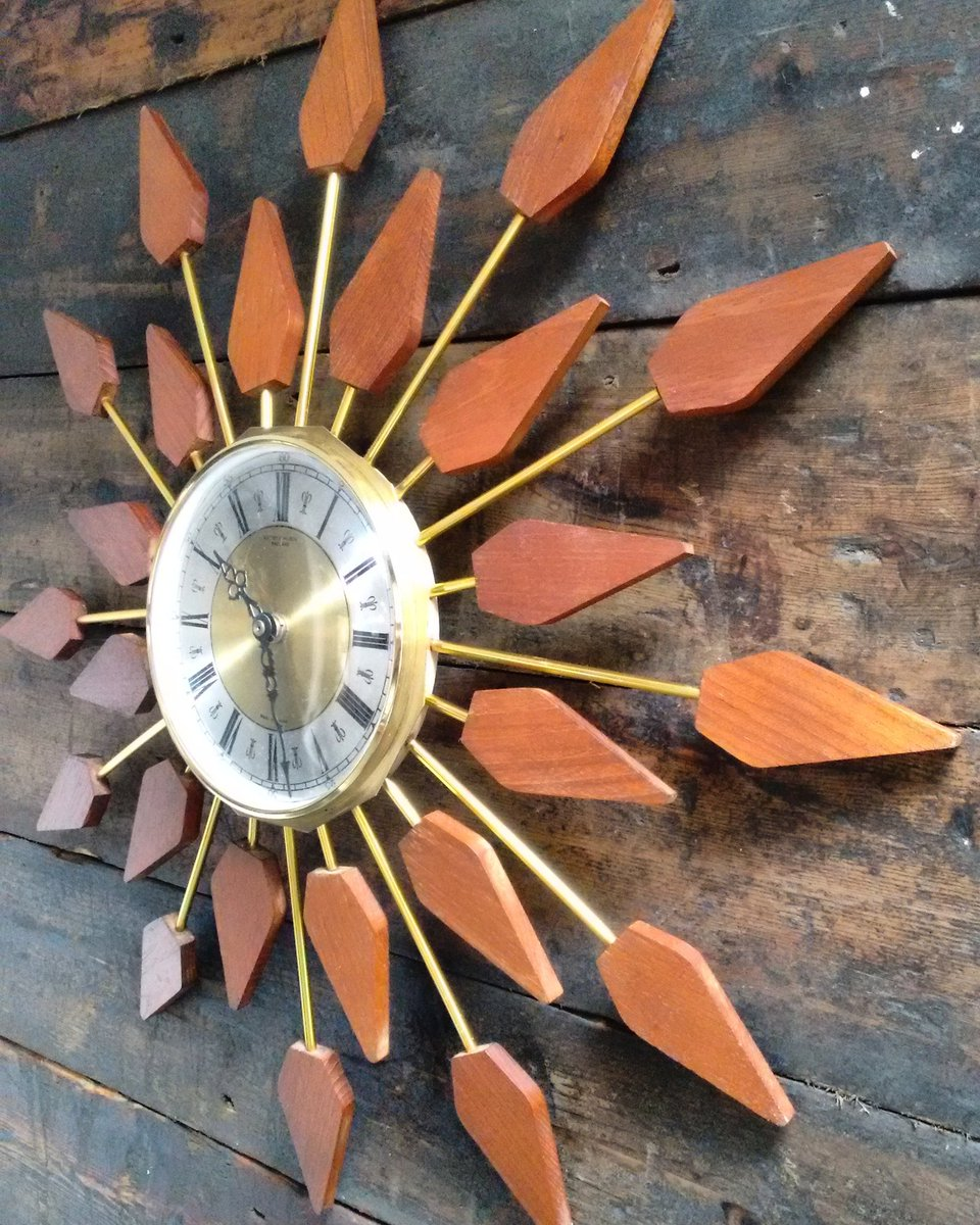 Sizzling sunburst clock by Anstey and Wilson Seek it out @VintageFurnFlea Bethnal 2 July #midcentury #vintage #interiorstyling #clock #retro<br>http://pic.twitter.com/wGyf5V8t3D