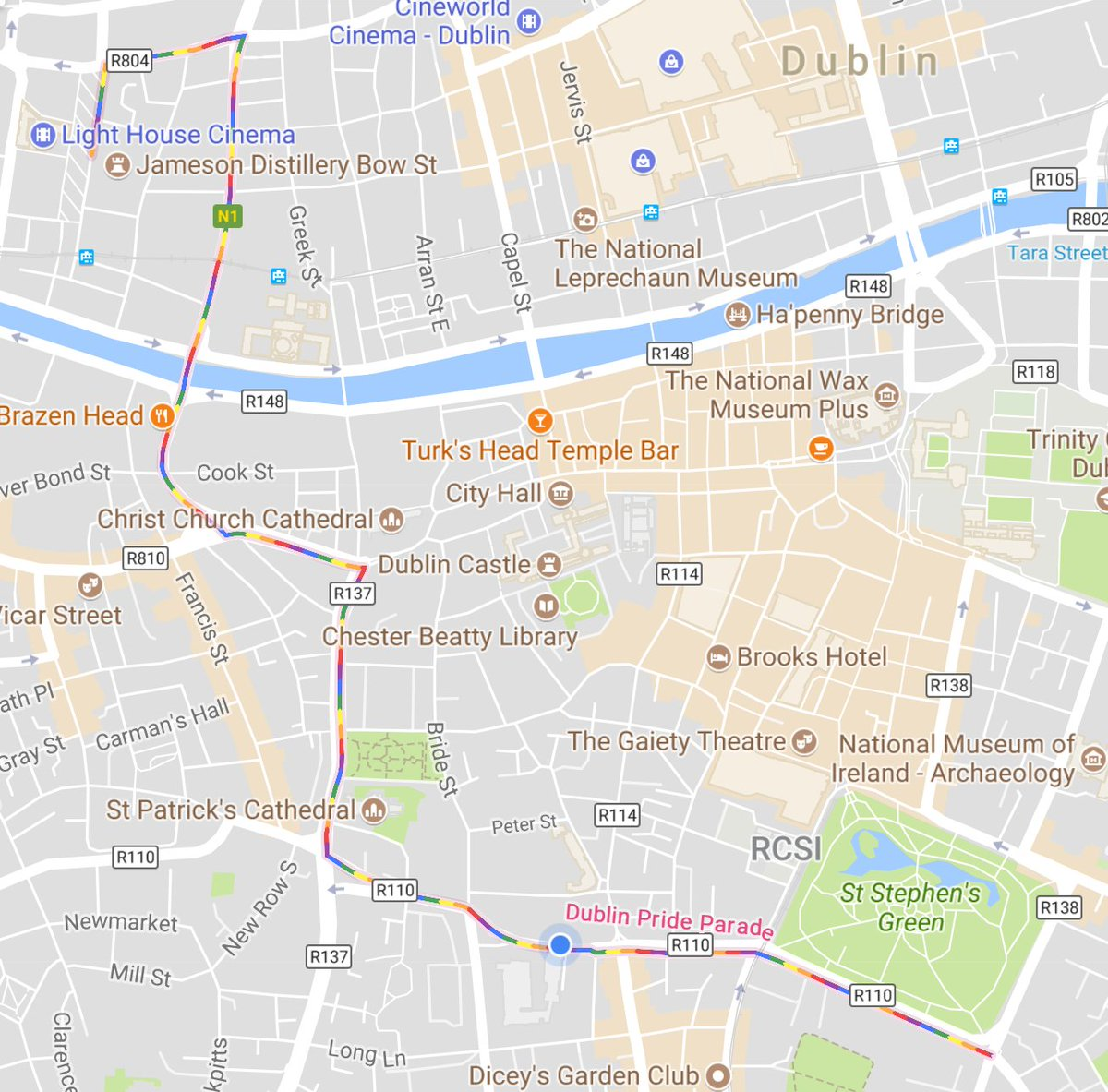 Very cool that #GoogleMaps is doing this. And that I&#39;m in a cafe along the route of course :) Happy pride all!  #DublinPride<br>http://pic.twitter.com/JfAbREkpM3