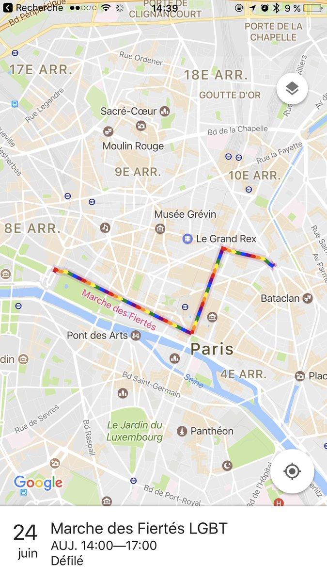 Si vous ouvrez Google Maps aujourd'hui, l'itinéraire de la #Pride2017 est affiché automatiquement 😊