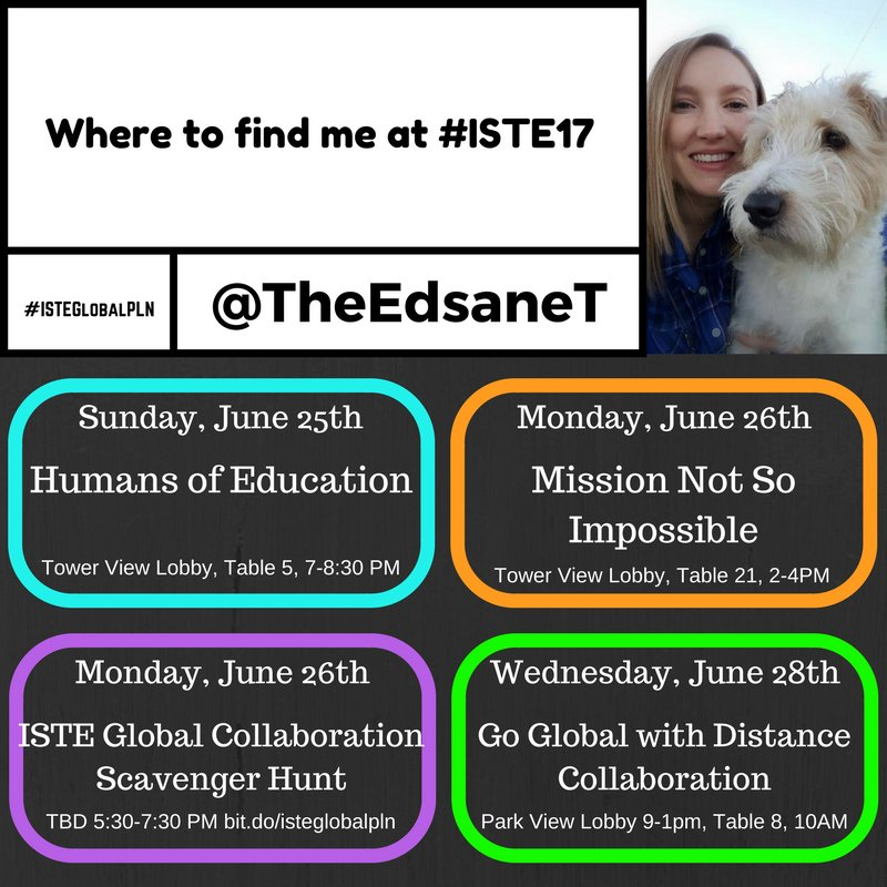 I&#39;ll be heading down later today! Find me here while at #ISTE17 #ISTEGlobalPLN <br>http://pic.twitter.com/N94yxCvZlg