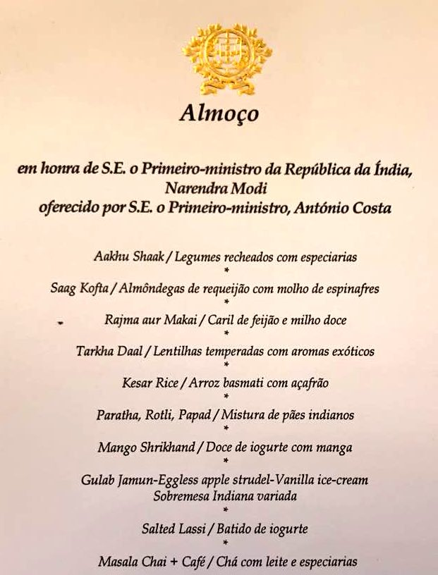 Gujarati food catered to Narendra Modi at lunch hosted by Portuguese Prime Minister