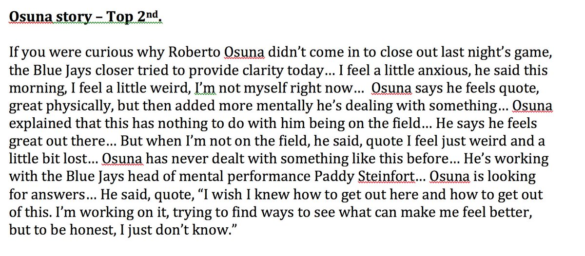 The latest on Roberto Osuna, as we just shared on the broadcast -- htt...