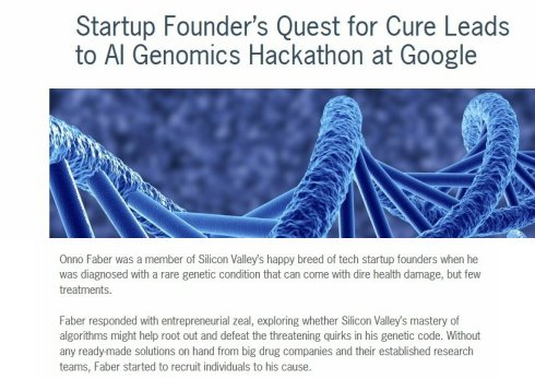 #RareDisease - Silicon Valley Rallies to Save One of Theirs  http://www. xconomy.com/san-francisco/ 2017/06/23/startup-founders-quest-for-cure-leads-to-genomics-hackathon-at-google/# &nbsp; …  #ITRTG #genomics #AI #science #tech #SNRTG #biotech<br>http://pic.twitter.com/I9SKbficvm