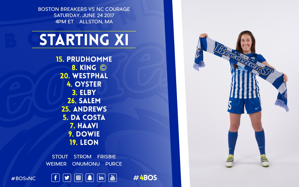 BOSTON BREAKERS TEAM SHEET #BOSvNC https://t.co/IDi4h3Wvxe