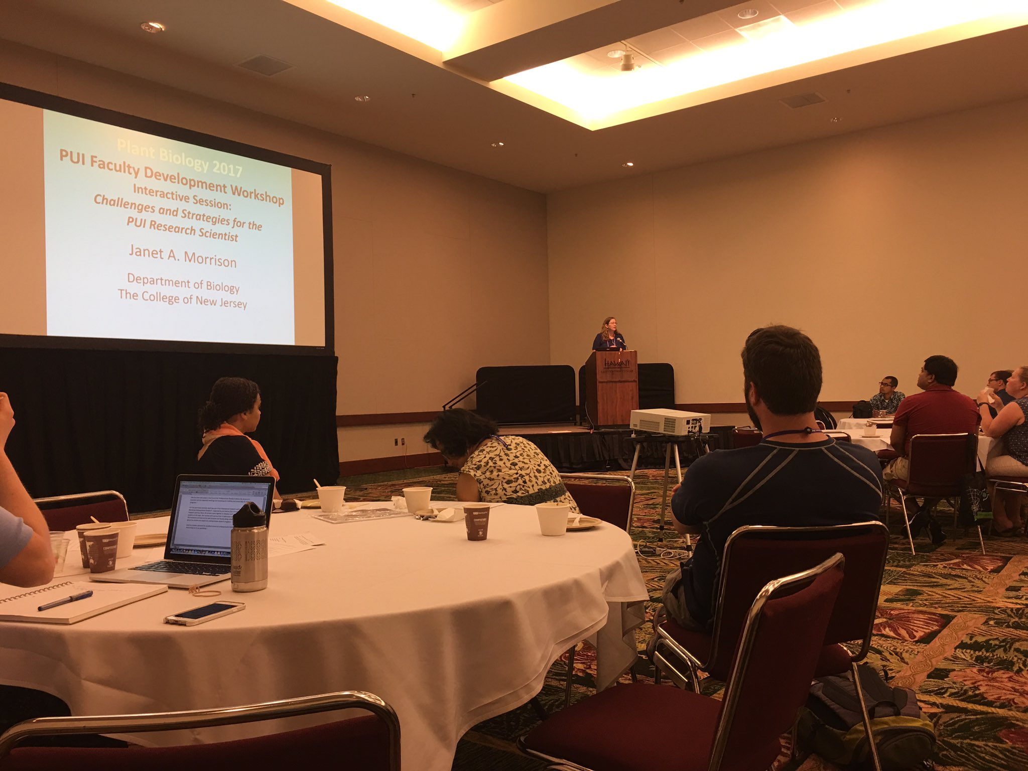 Full house at the PUI workshop. Janet Morrison on strengthening research programs at PUIs; slides will be shared  #plantbio17 https://t.co/8SxfPwRokf