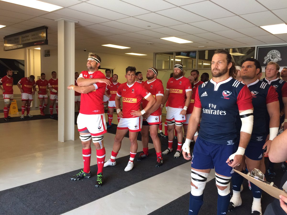 Teams in the tunnel. Almost ready for kick-off #RWC2019 🇨🇦🇺🇸 https://t...