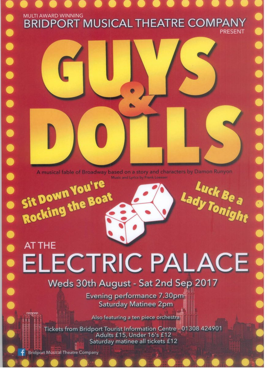 Guys and Dolls! at @electricpalace are now ON SALE with US! Come grab your tickets and book your seat! 🎤🎫 or call us on 01308 424901