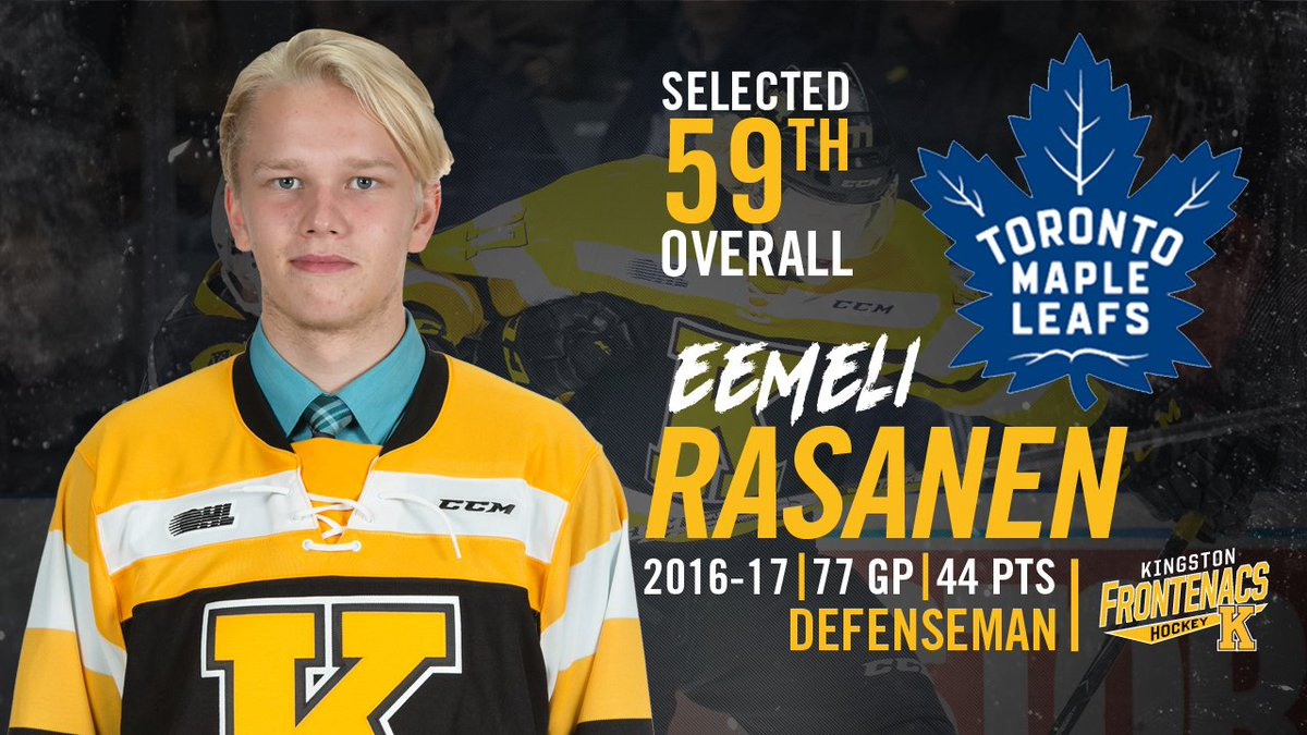 CONGRATS Eemeli Rasanen, selected 59th overall at the #2017NHLDraft to the @MapleLeafs! https://t.co/27zv3iUVf7