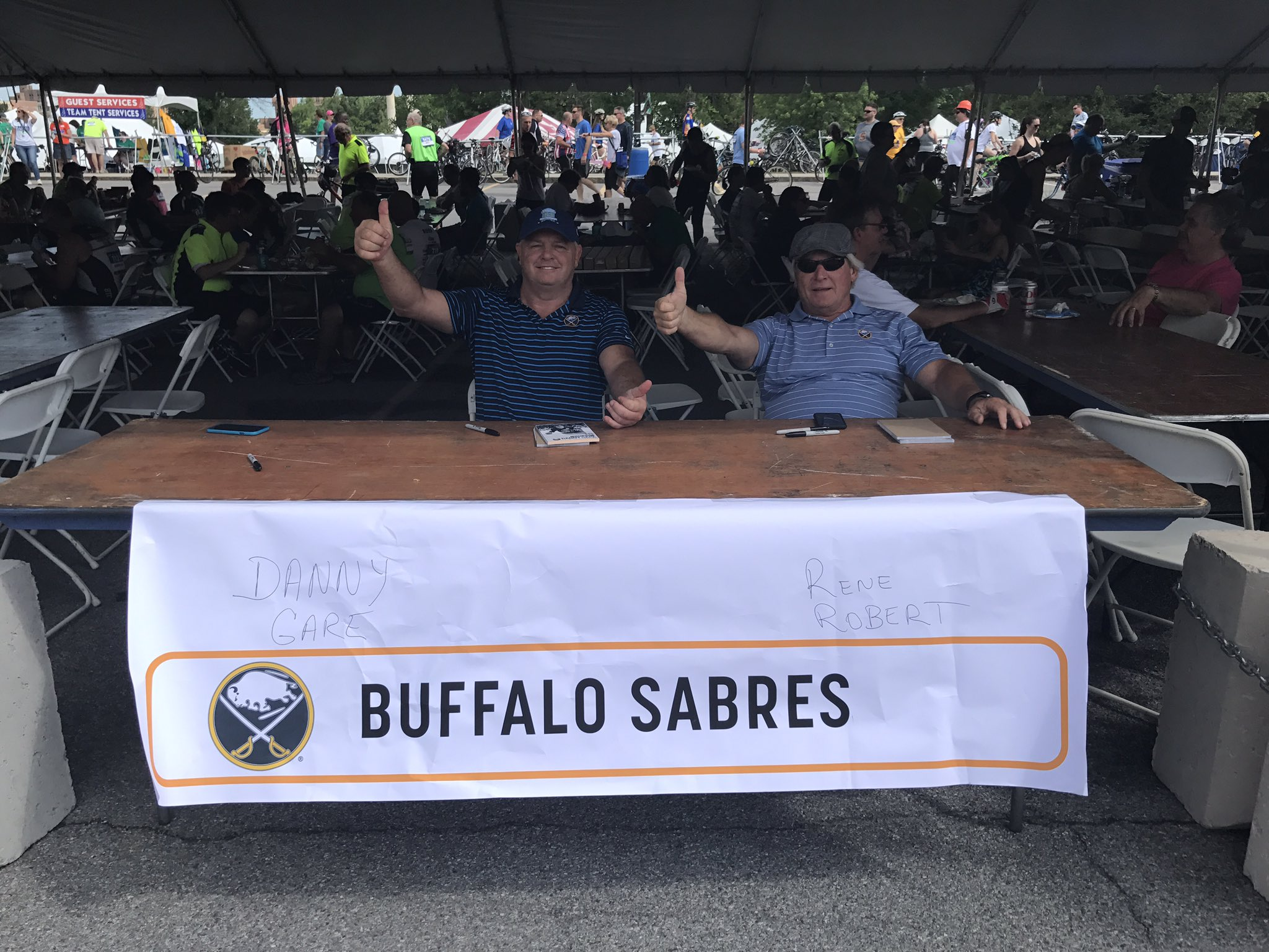 Danny Gare and Rene Robert are here in the Expo Village food tent! #rfr17 @BuffaloSabres https://t.co/QS2waSmb1H