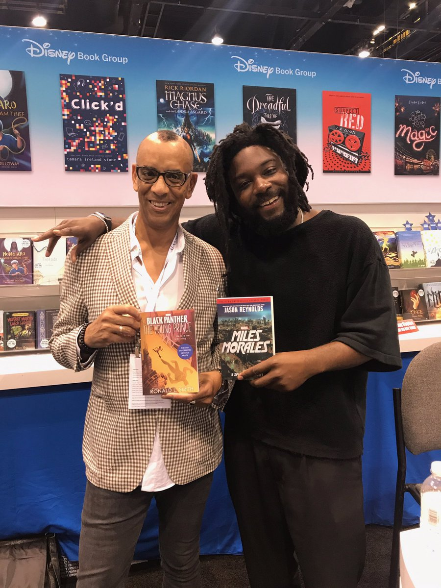 #Marvel superheroes @JasonReynolds83 & @RonSmithbooks with their n...
