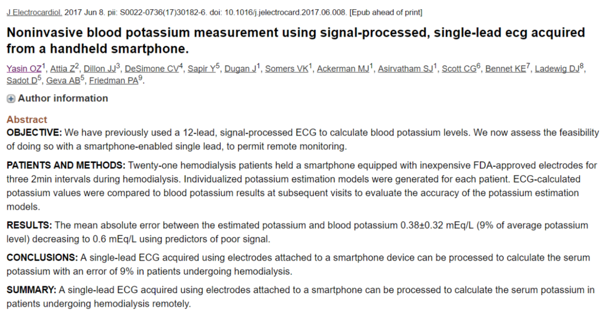 Ugur kucuk on twitter noninvasive blood potassium measurement ugur kucuk on twitter noninvasive blood potassium measurement using alivecor by drpaulfriedman and mayocliniccv check this ccuart Images