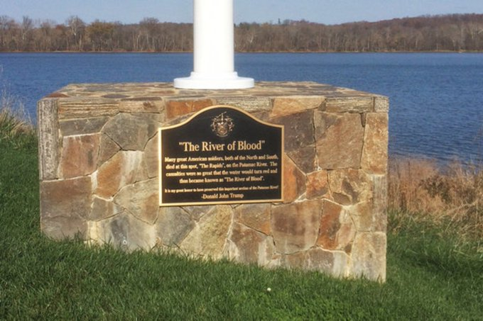 Talk about fake news: President had a plaque installed at his golf club honoring a Civil War battle - that historians say never occured