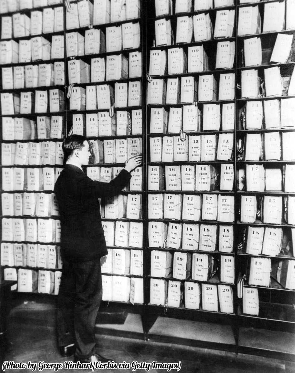 Before computers. The finger print or record room in the famous Scotland Yard, England.