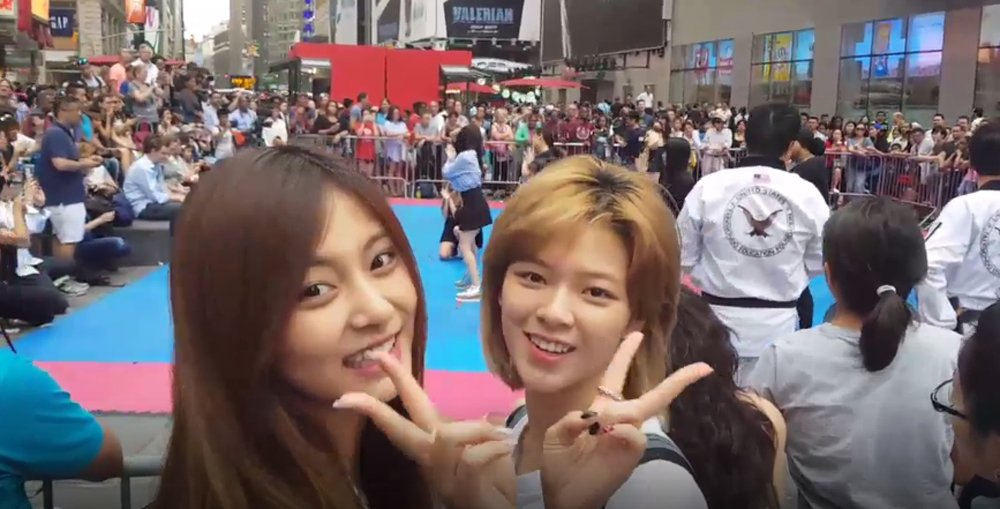 TWICE go unnoticed in Times Square during 'TT' cover performance https...