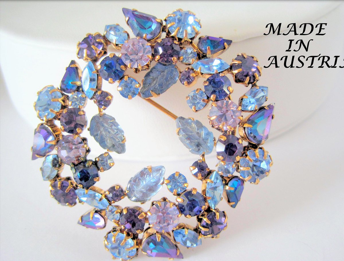 Amethyst  Rhinestone Brooch - Signed Austria - Blue Highlights - Collectible Pin  https:// seethis.co/A7JPo/  &nbsp;   #vintage #etsyseller <br>http://pic.twitter.com/LBidrUheTe