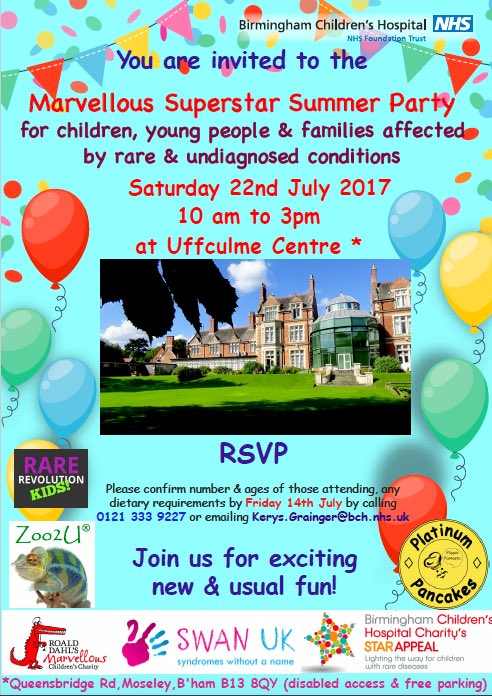 Exactly 4 weeks til first #RareDisease @RoaldDahlFund @Bham_Childrens #SummerParty: looking forward @Zoo2U_UK @PlatnumPancakes &amp; much more!<br>http://pic.twitter.com/XXpXxuFvHv