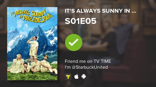 I&#39;ve just added  It&#39;s Always Sunny in... to my @tvshowtime list! #SunnyFXX   https:// tvshowtime.onelink.me/3966595826?af_ dp=tvst%3A%2F%2Fshow%2F75805%2Fepisode%2F296314%2Fdetail&amp;af_web_dp=https%3A%2F%2Fwww.tvtime.com%2Fshow%2F75805%2Fepisode%2F296314&amp;referrer_id=5910414&amp;source=auto-tweet &nbsp; … <br>http://pic.twitter.com/VdvqbLATLC