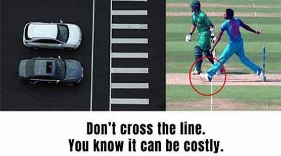 #لائن کراس نہ کریں، بھارتی ٹریفک پولیس کا #PakvsInd میں بمرا کی نوبال...