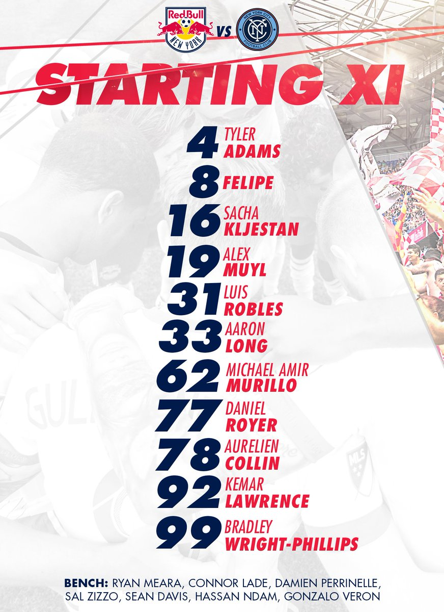 STARTING XI  📰 ➡️ https://t.co/VVMll7bFYI  #NYvNYC | #RBNY | #NYisRED...