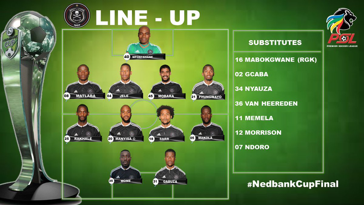The @Orlando_Pirates Starting 11  #NedbankCupFinal https://t.co/ZEOJyo...