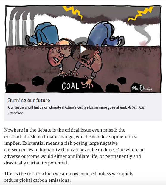This is not rhetoric: the #Adani coal mine will kill millions of people #StopAdani #coal #CO2 #GBR #climate  http://www. smh.com.au/comment/this-i s-not-rhetoric-approving-the-adani-coal-mine-will-kill-people-20170518-gw7nv9.html &nbsp; …  via @smh<br>http://pic.twitter.com/4LTmnXXBbo
