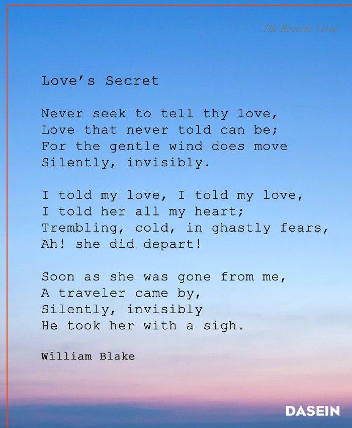 Dasein Search On Twitter Loves Secret William Blake