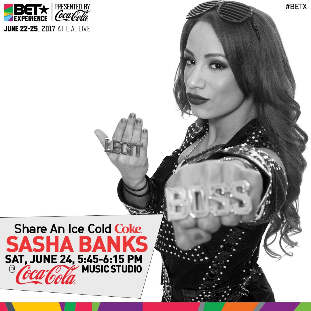 Come out and see @sashabankswwe at the @cocacola music studio stage TO...