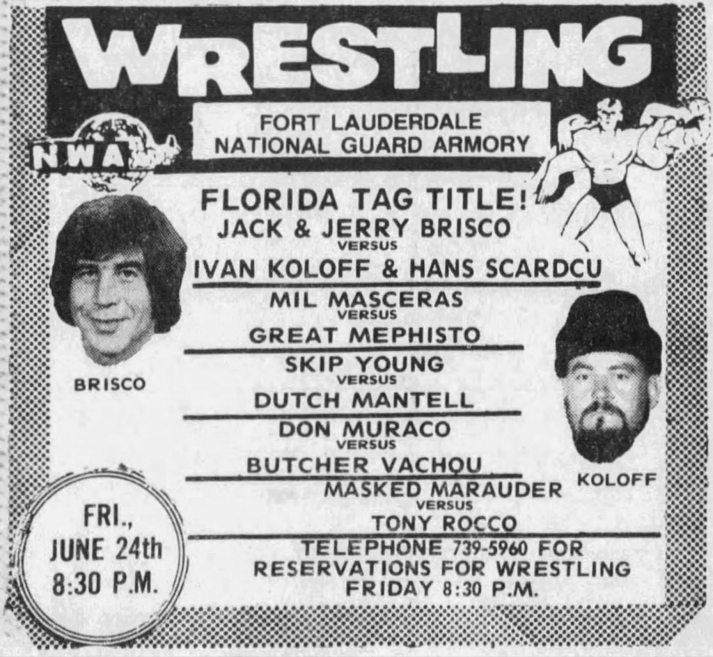 40 years ago tonight in #FortLauderdale for the #Florida tag team titles! Jack &amp; Jerry Brisco vs Ivan Koloff &amp; Hans Schroeder! #NWALegends<br>http://pic.twitter.com/gVUQm2aZoV