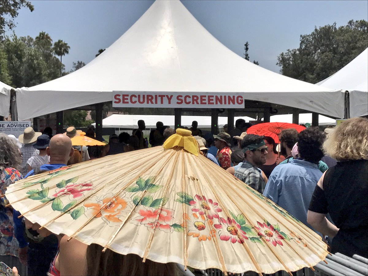 Half hour delay outside security screening. #ArroyoSecoWeekend ☀️☀️☀️...