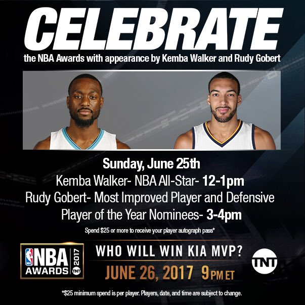 On Sunday, 6/25 come visit the @NBASTORE to meet Kemba Walker and Rudy...