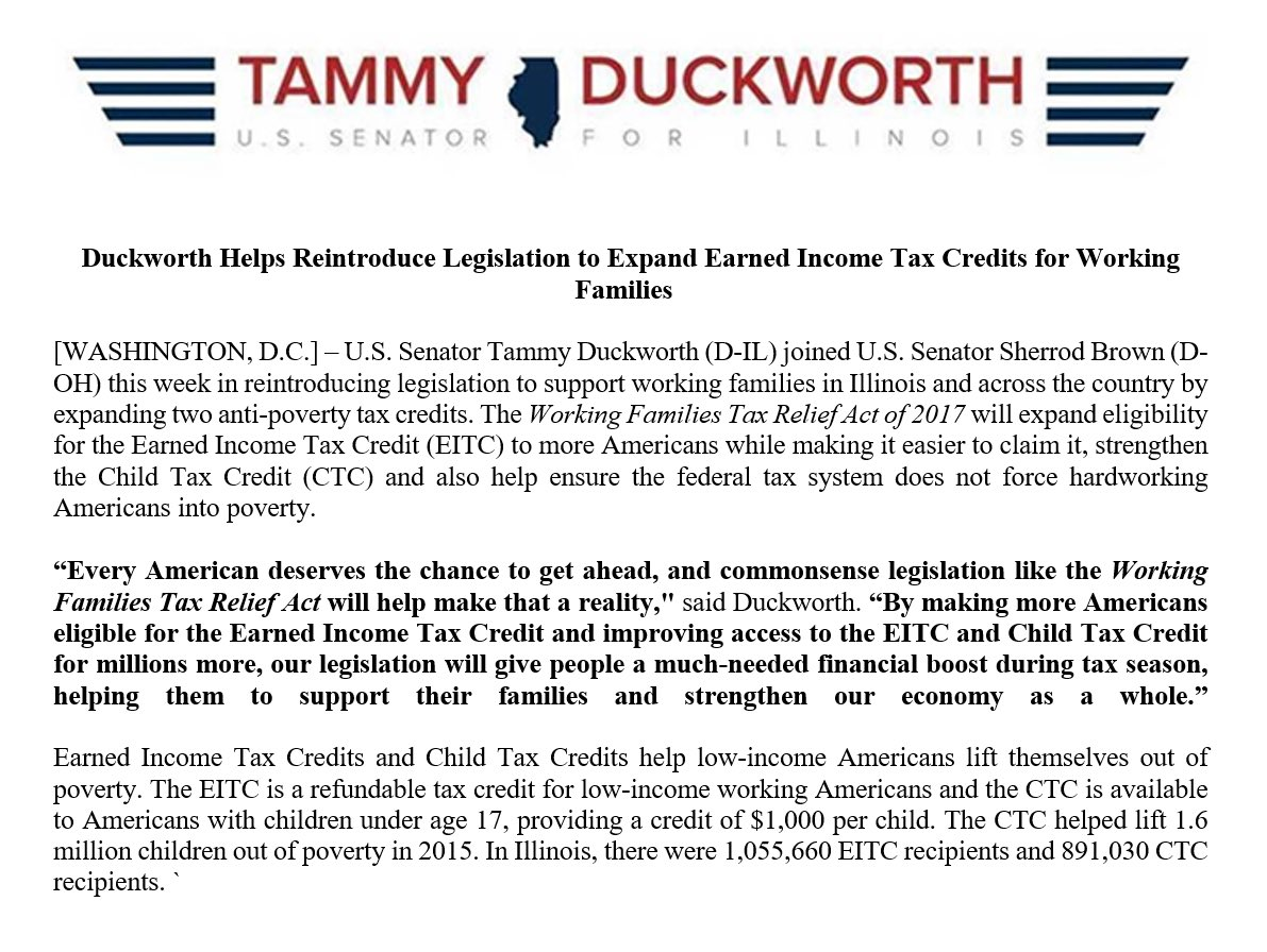 How Much Tax Credits Will I Get >> Tammy Duckworth On Twitter Our Bill Will Give People A Much Needed