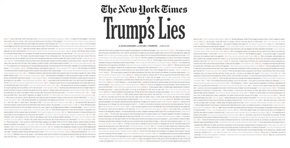 #NYTimes printed almost all of the #TrumpLies. They woulda saved a few forests if they&#39;d just printed the Trump truths.<br>http://pic.twitter.com/UgOiihGext