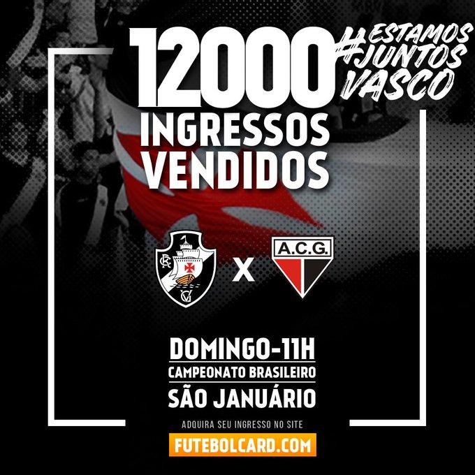 O Caldeirão vai ferver! Doze mil ingressos vendidos até o momento para Vasco x Atlético-GO neste domingo. #VemPraColina #EstamosJuntosVasco