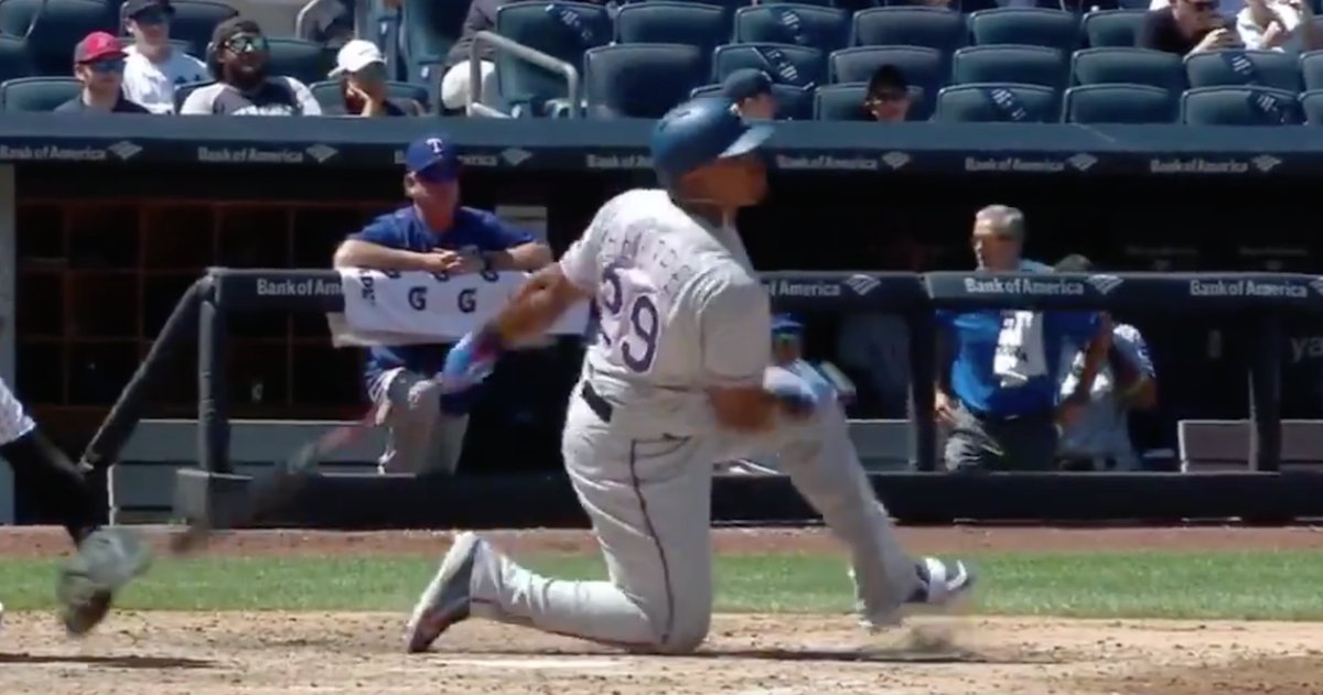 VIDEO: Adrian Beltre drops to one knee, still rips a leadoff double to...