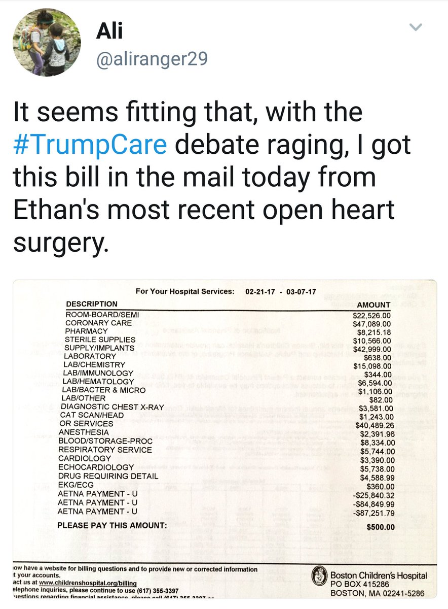 This mom shared her son's hospital bills in response to the Republicans' health care plans https://t.co/PEuBZ0QYkI